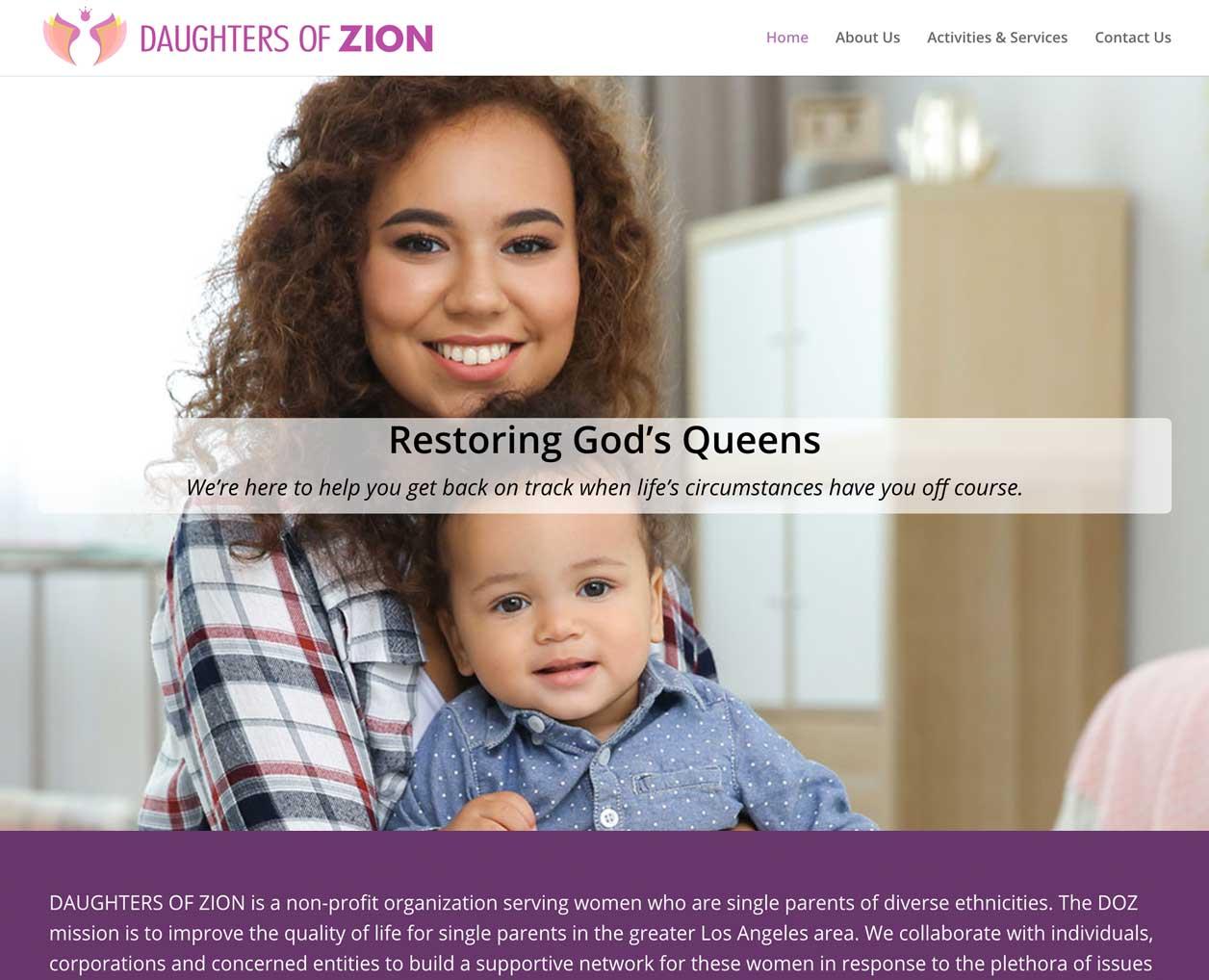 website design Daughters of Zion Queens