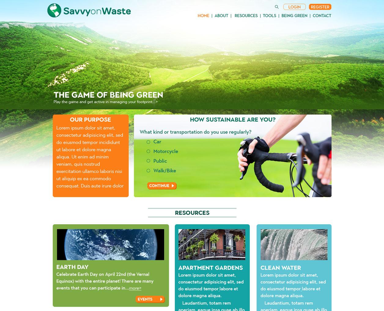 Savvy on Waste website design