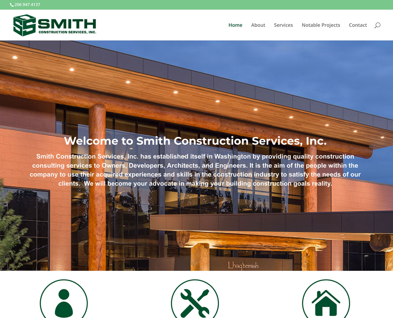 Smith Construction Services website